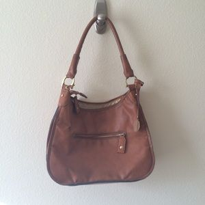 London Fog Tan Vegan Leather Shoulder Bag, Purse
